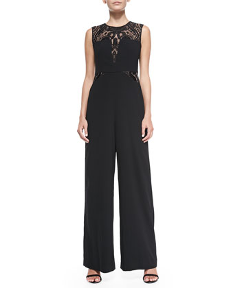 Laden Sleeveless Lace-Insert Jumpsuit