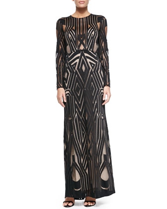 Veira Long-Sleeve Patterned Mesh Gown
