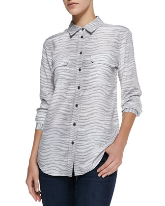 Slim Signature Printed Button-Down Blouse