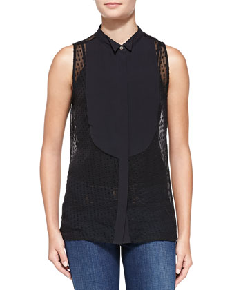 Emmett Swiss Dot Blouse with Contrast Bib