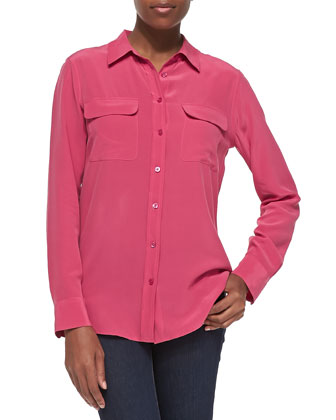 Slim Signature Silk Blouse, Carmine