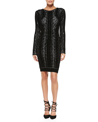 Jaye Long-Sleeve Chenille Snake Dress