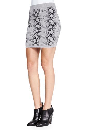 Snake-Print Knit Miniskirt
