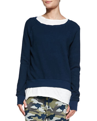 Twist-Neck High-Low Sweatshirt