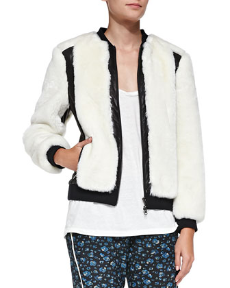 Leather-Trim Faux-Fur Jacket