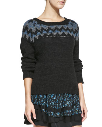 Fair Isle Rib-Trim Sweater