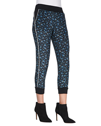 Printed Cropped Pull-On Pants