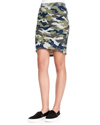 Camo-Print High-Low Skirt