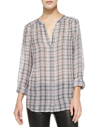 Marice Long-Sleeve Plaid Top
