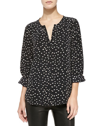 Purine Long-Sleeve Heart-Print Top