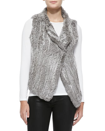 Andoni Rabbit Fur Vest, Gray