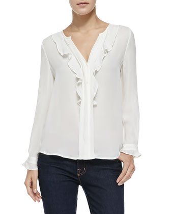 Jayanne Silk Ruffled Blouse, Porcelain