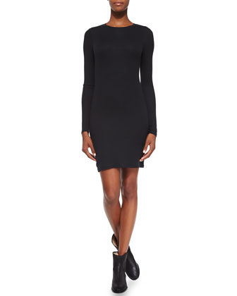 Formfitting Long-Sleeve Knit Dress