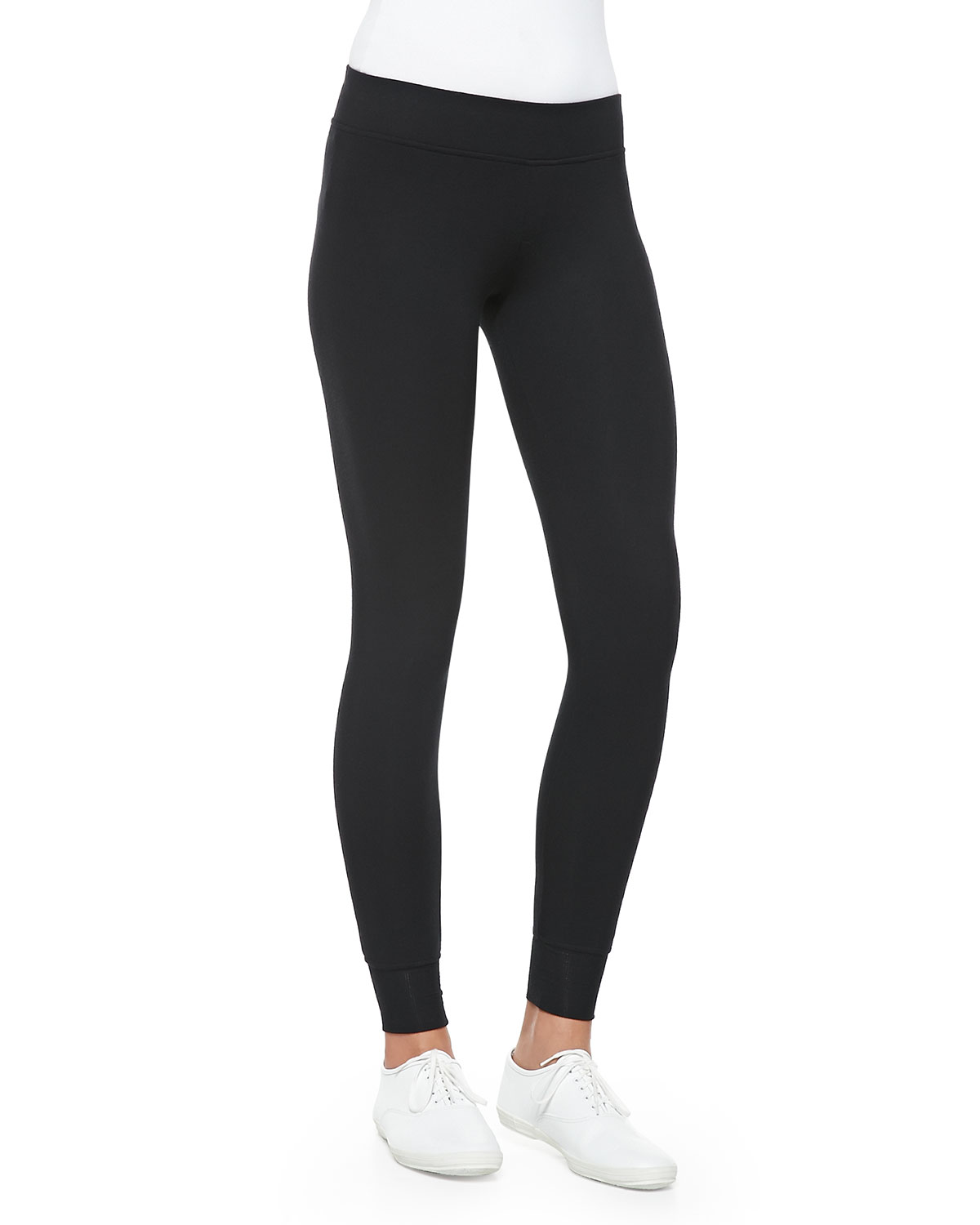 Full-Length Double-Layer Yoga Tights, Women's, Size: M, Black - ATM