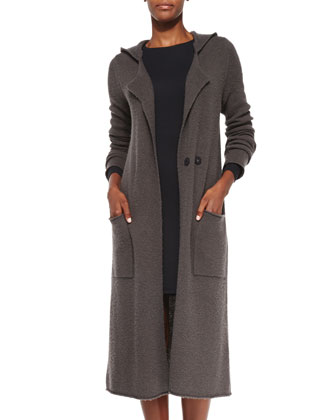 Double-Breasted Hooded Felt Coat