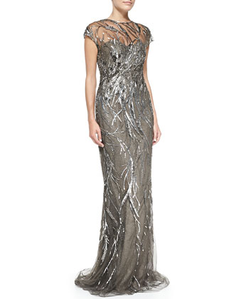 Cap-Sleeve Patterned Sequined Gown