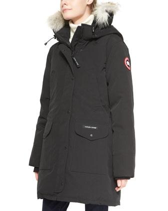 Trillium Fur-Hood Parka Jacket, Black
