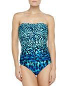 Dotted Ikat-Print Shirred Swim Bottom, Lapis