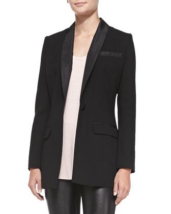 Three Dots Tuxedo Blazer/Soft Slouch Tank & Leather & Ponte Leggings