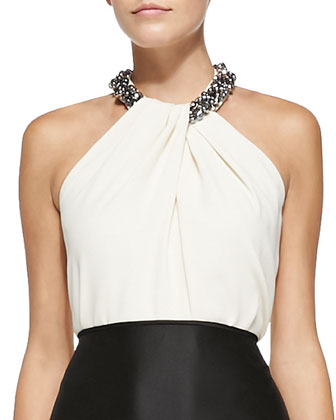 Halter Beaded-Neck Top