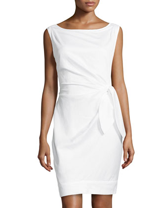 New Della Tie-Waist Dress, White