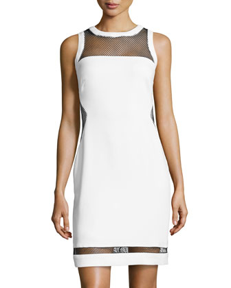 Crepe/Mesh Sheath Dress, Optic White/Black