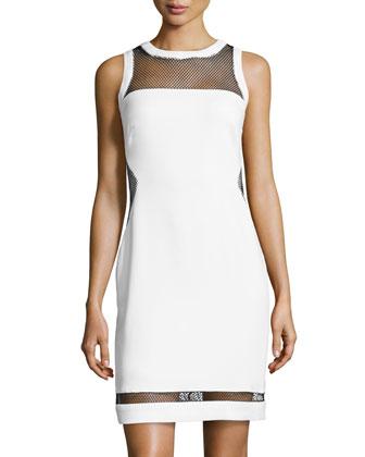 Crepe/Mesh Sheath Dress, Optic White/Black