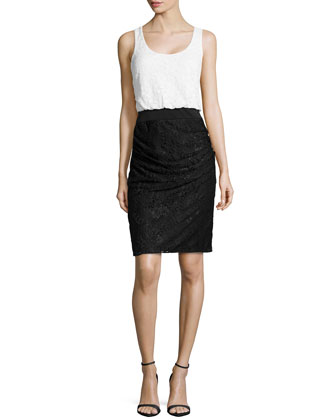 Two-Tone Stretch Lace Dress, Optic White/Black