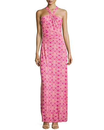 Twist-Front Geo-Print Maxi Dress, Rose Violet
