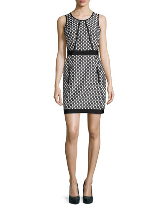 Geo-Jacquard Grosgrain-Trim Sheath Dress, Black