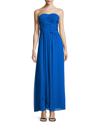 Strapless Double-Twist Pleated Chiffon Gown, Duchess Blue