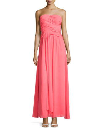 Strapless Double-Twist Pleated Chiffon Gown, Bright Calypso Coral