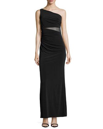 One-Shoulder Shirred Mesh-Inset Gown, Black
