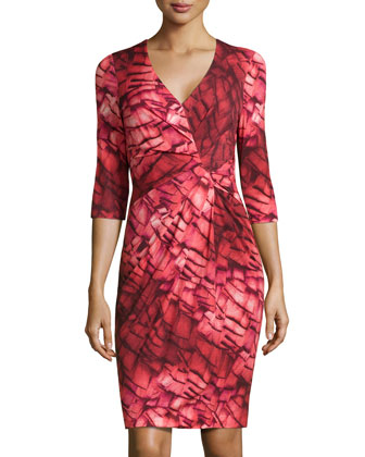 Abstract-Print Tuck-Pleated Sheath Dress, Fantasy