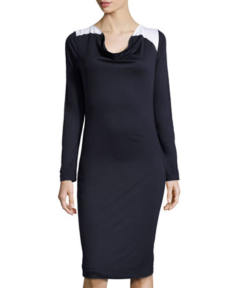 Contrast-Shoulder Knit Dress, Dark Blue/White