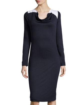 Contrast-Shoulder Knit Dress, Dark Blue/White