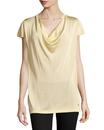 Cowl-Neck Knit Top, Gold