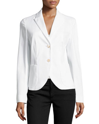Pique-Knit Two-Button Blazer, White