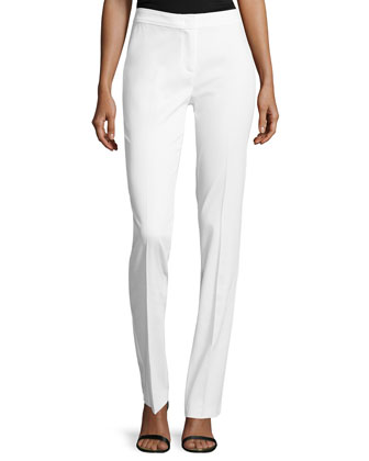 Pique Straight-Leg Pants, White