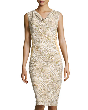 Cowl-Neck Python-Print Sheath Dress, Natural