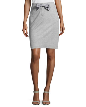 Narrow Drawstring Pencil Skirt, Gray