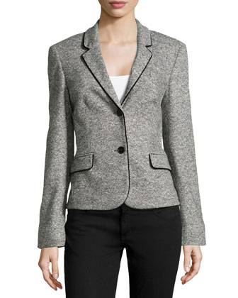 Velvet-Trimmed Tweed Blazer, Charcoal