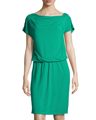 Asymmetric Draped Soft Jersey Dress, Green