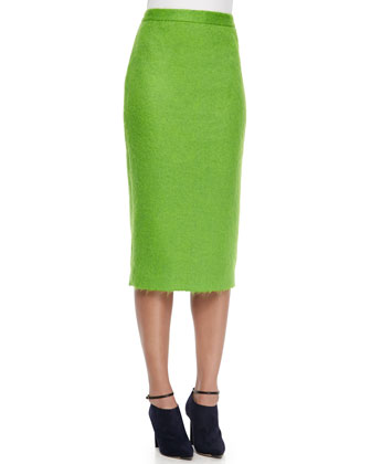 Kane Long Fuzzy Pencil Skirt
