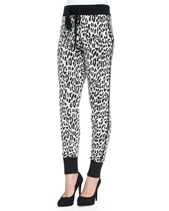 Leopard-Jacquard Pull-On Track Pants