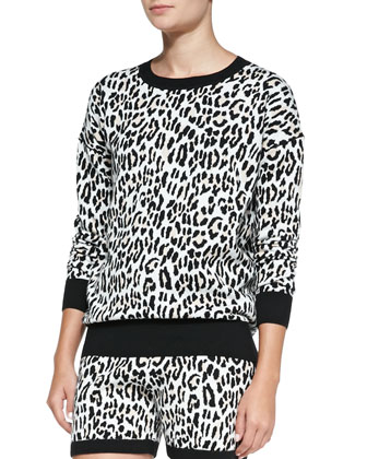 Leopard-Print Jacquard Track Shorts