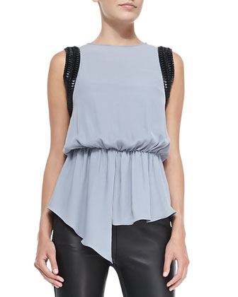 Rebecca Faux-Leather-Trim Blouse