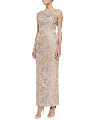 Sleeveless Lace Overlay Column Gown
