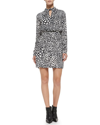Nicola Printed Twist-Neck Long-Sleeve Dress