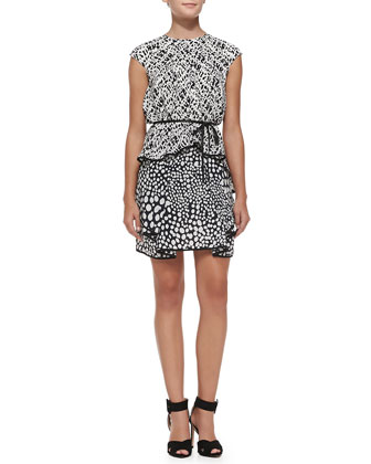 Myra Combo-Print Dress w/ Folded Ruffle Hem